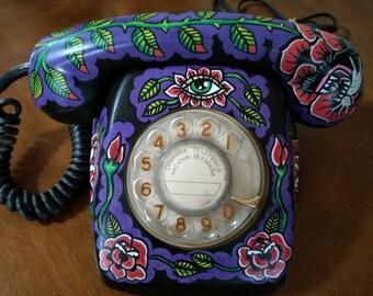 80s Telephone Tattoo Black