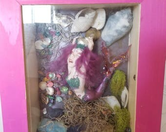 Freaky Mermaid Shadowbox with Shells