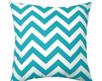 SALE Turquoise Pillow Cover - Zig Zag True Turquoise Chevron Pillow Cover - Chevron Sham - Turquoise and White Chevron Cover, Cushion Cover
