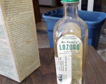 Vintage, Dr. Peter Fahrney and Sons Co Lozogo, Antique Embossed Bottle, Apothecary Bottle, Pharmacy Bottle, Medicine Bottle, Laxative,