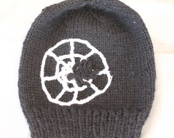hand knitted hat, halloween, kids, black,