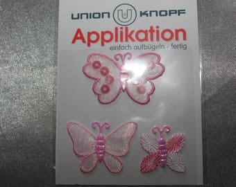 Butterfly, assorted pink iron-on or sew applique
