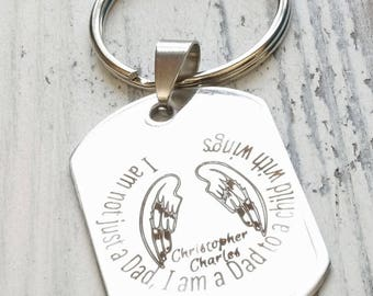Dad to a Child with Wings Personalized Engraved Key Chain