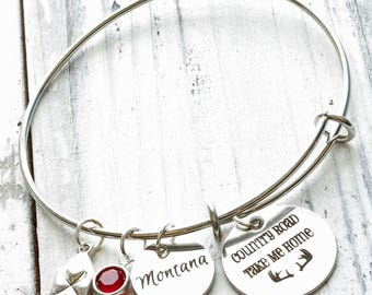 Country Road Take Me Home Personalized Adjustable Wire Bangle Bracelet