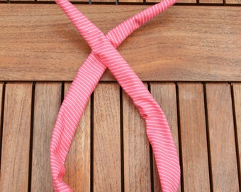 wire headband pink with white stripes