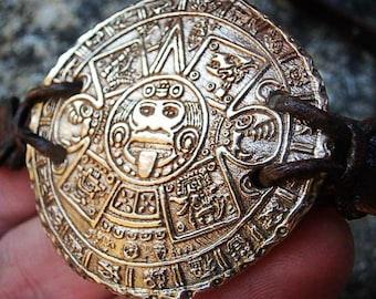 New Vintage Aztec Calendar Gold Bronze Coin Bracelet, Men or Women Jewelry