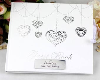 Personalised Birthday Guest Book - Hearts