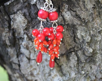 Red chandelier earrings red jewelry red wedding prom jewelry red gemstone cluster earrings gifts bridesmaids coral earrings birthday earring