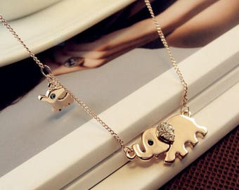 Gold, Rose Gold or Silver elephant necklace...dainty handmade necklace, everyday, simple, birthday,elephant necklace