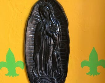 Black Clay Virgen de Guadalupe - Made in Oaxaca, Mexico - Mexican Wall Decor