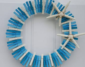 Beach Wreath, Clothespin Wreath, Beach Decor, Summer Wreath, Summer Decor, Beach Clothespin Wreath, Coastal Wreath, Coastal Decor,