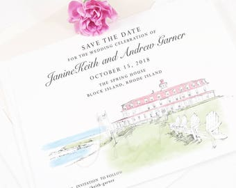 Block Island Save the Dates, Rhode Island Save the Date, Newport Wedding, Save the Date Cards, STD, Wedding  (set of 25 cards)