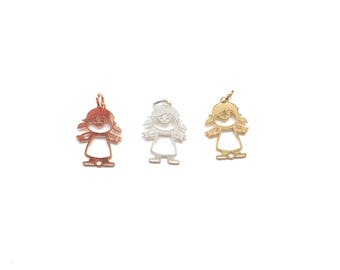 Sterling silver Little girl charm,girl cutout 16 x 11 mm,rose gold filled, 14kt gold filled,.925 silver,girl charm,family charm,daughter