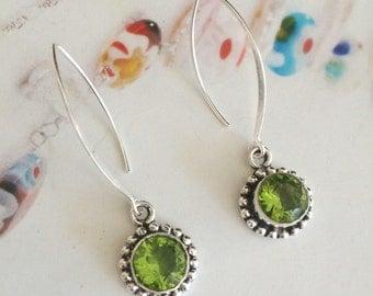 Green Peridot earrings on log Sterling Silver hooks -August birthstone jewellery
