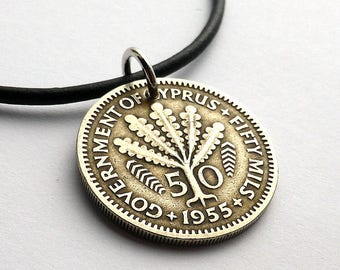 Cypriot coin necklace, Coin jewelry, Greek necklace, Coins, 1955, Pendant, Necklaces, Jewelry, Repurposed coin, Upcycled necklace, Cyprus