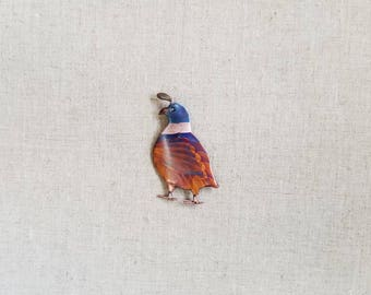 Flame painted copper Quail, pin