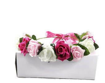 Pink rose flower crown - rose flower crown - pink flower crown - rose crown - pink crown - adult flower crown - floral headpiece, hairpiece