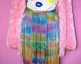 Cosmic Rainbow Skirt - Festival, Rave, Edm, Party Skirt - Beach Cover Up