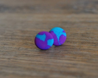 purple and teal clay earring