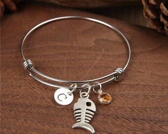 Fishbones Bangle, Fishbones bracelet, Fish bones charm, Charm bangle, Personalized Bangles , Birthstones Bangle, Monogram bangle, Jewelry
