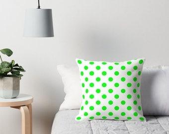 Neon Green Pillow Cover, Green Polka Dot Bedding, Green Polka Dot Pillow, Polka Dot Cushion, Polka Dot Pillow, Polka Dot Pillow Cover, Green
