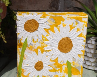 White Daisy Flower Painting - Original Abstract Acrylic - Yellow - 6 x 6