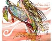 Hope MERMAID, SEA TURTLE, T-shirt - cap sleeves, exclusive design, for women, girls – handmade in Hawaii