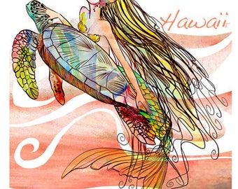 Hope MERMAID, SEA TURTLE, T-shirt - cap sleeves, exclusive design, for women, girls – handmade in Hawaii