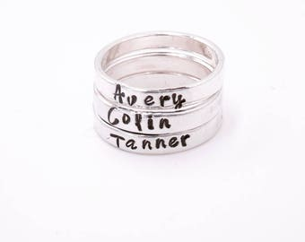 Personalized stacking rings – Stacking rings names – Rings with names - Birthstone – Mothers ring -  Engraved stacking rings – Dainty ring