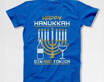 Ugly Holiday T Shirt Happy Hanukkah Gift Ideas Holiday Tshirt Gin And Tonica Jewish Clothing Chanukah Presents Jewish Holiday Menorah TEP384