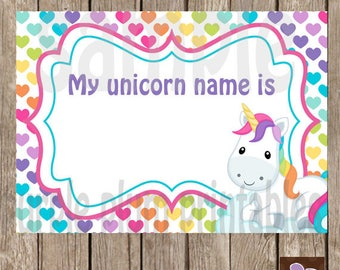 Instant Download - My Unicorn Name is Tags -  Labels - Print at Home