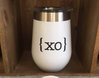 White Stainless Steel Wine Glass With Lid With Monogram