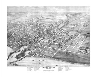 "Port Hope Ontario in 1874 Panoramic Bird's Eye View Map by Herman Brosius 21x17"" Reproduction"