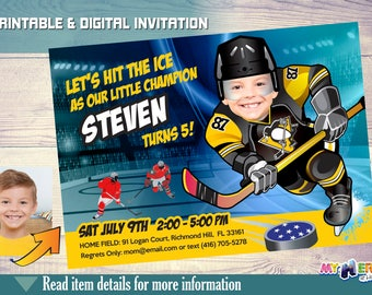 Pittsburgh Penguins Birthday Invitation. Make your kid the best player of his favorite team! Hockey Birthday Invitation. Hockey Party. 306