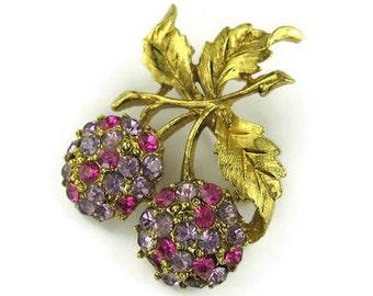 Vintage Rhinestone Cherry Pin