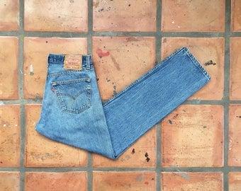 SUMMER SALE Vintage Levis 501xx Jeans- High Waist Straight Leg, Medium Wash Button Fly, Distressed Boyfriend Jeans 31