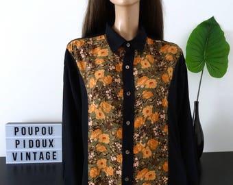 Chemisier homme/femme vintage BALAFRE noir/fleuri taille XL