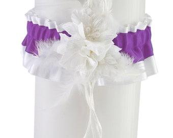 Bridal wedding garter, bride garter, white purple garter, wedding lingerie, handmade bridal satin garter, plus size garter elegant garter 11