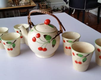 Cherry Motif-Maruhon Ware, Japanese Handpainted Teapot Set with 6 Cups