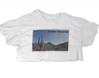 Vintage Tortolita Mountains Desert Crop Top T Shirt