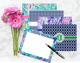 Lilly Pulitzer Inspired Personalized Flat Notecards