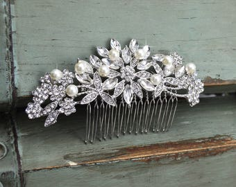 Crystal & Freshwater Pearl Hair Comb, Floral Bridal Comb, Silver Wedding Hair Comb, Swarovski Crystal Headpiece, Vintage Side Comb, CO-009
