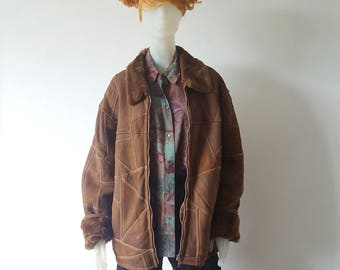 Leather Jacket Oversize Size L