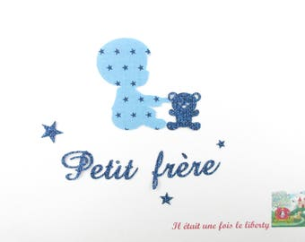 Appliqués thermocollants Petit frère tissus étoilé bleu marine flex pailleté patch à repasser motif thermocollant applique sans couture