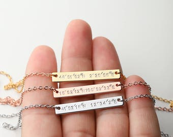 Custom Name Latitude longitude necklace - Custom Coordinates necklace Name necklace coordinates jewelry - 9N