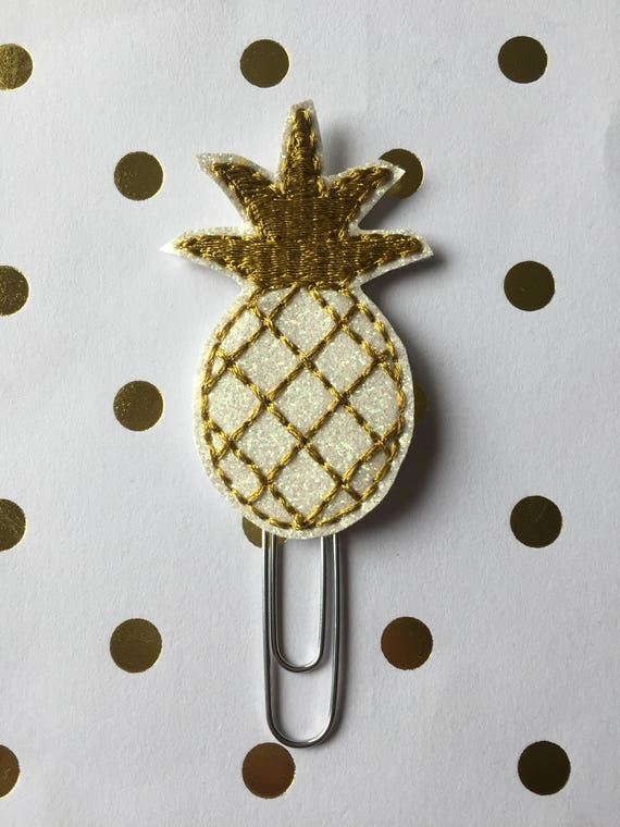 Glitter Pineapple with gold stitching planner Clip/Planner Clip/Bookmark. Pineapple paper clip. Pineapple planner clip. Glitter planner clip