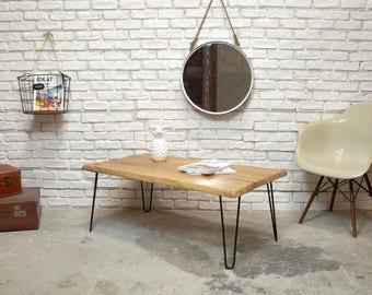Coffee table live edge wood oak Hairpinlegs