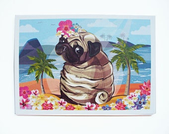 Pug Card, Hawaii Summer Pug Greeting Card, Tropical Pug Art, Pug Funny Birthday Card, Pug Illustration, Cute Pug Love Card, Sweet Pug Gift