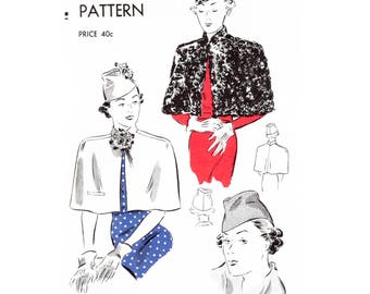 1930s 30s cape capelet and hat // vintage sewing pattern reproduction // fur cape outerwear // size medium bust 34 - 36