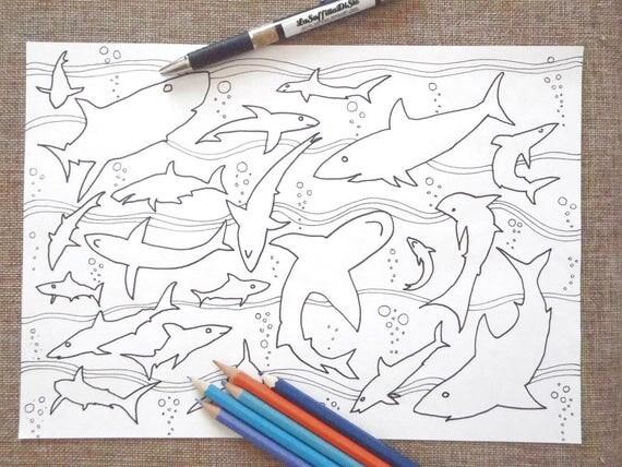 Squali da colorare mare oceano adulti animali pescecane for Squali da colorare